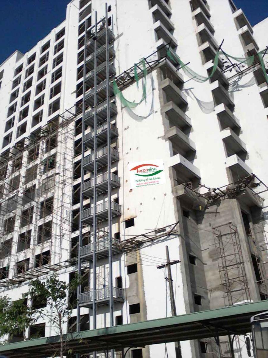 TECONVINA Thi công lắp dựng hệ kết cấu thép giàn đỡ điều hòa nhà cao tầng tại Đà Nãng