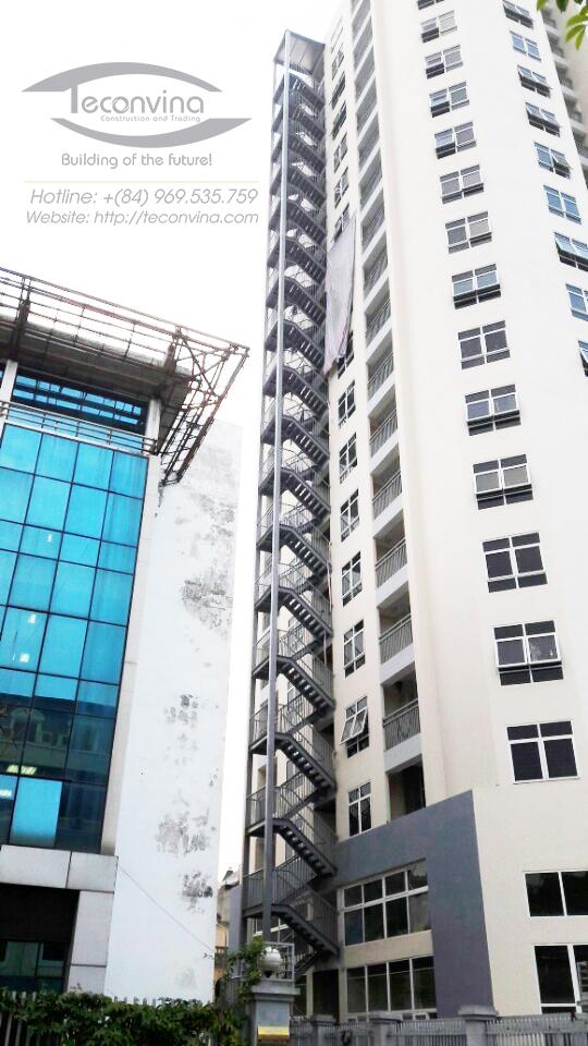 Thiết kế, sản xuất và lắp dựng hoàn thiện hệ kết cấu thang thoát hiểm nhà cao tầng